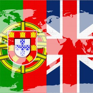 Flags of Portugal and Great Britain