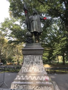 vandalized statue of Christopher Columbus